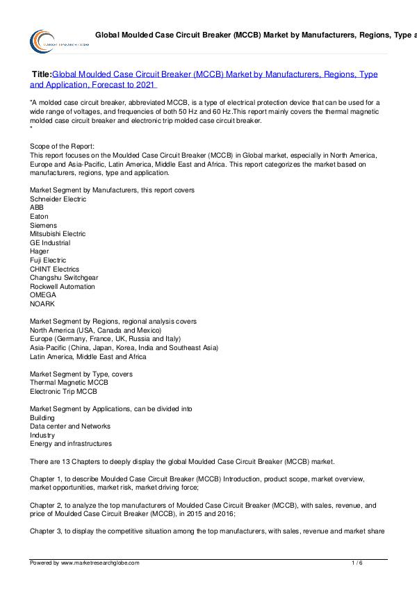 Moulded Case Circuit Breaker (MCCB) MarkeT 2021