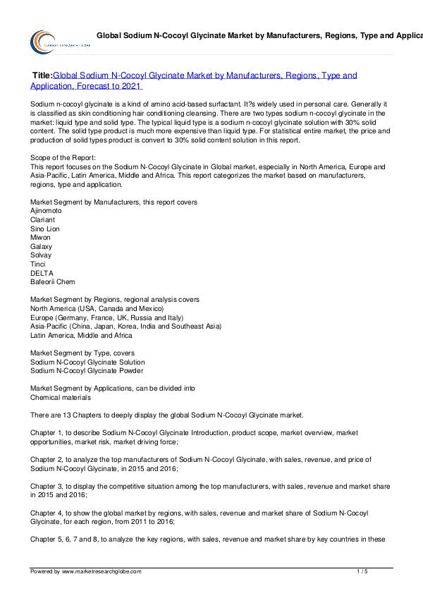Europe Tire Market Report 2016 Sodium N-Cocoyl Glycinate Market Forecast to 2021