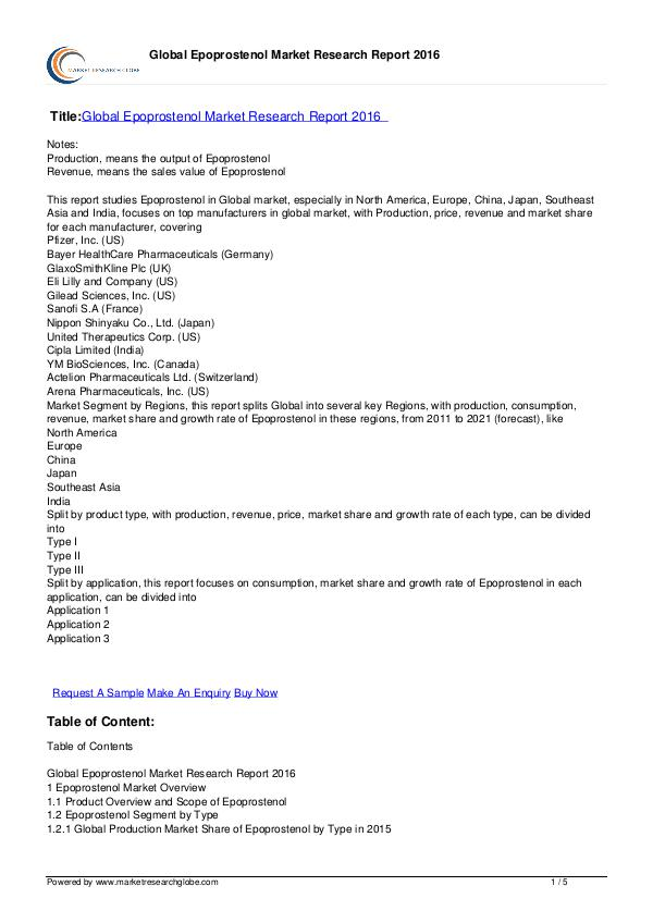 Market Research Globe: Epoprostenol Market 2016