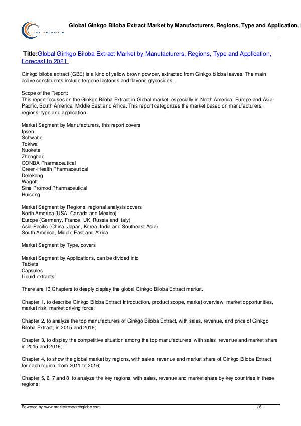 Ginkgo Biloba Extract Market Forecast to 2021