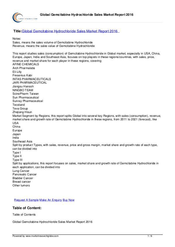 Gemcitabine Hydrochloride Sales Market Report 2016