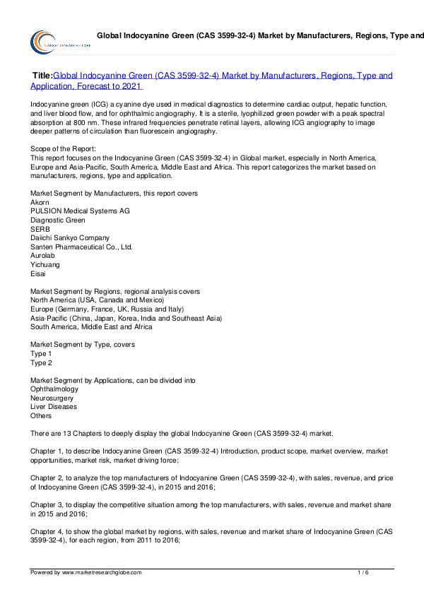 Indocyanine Green (CAS 3599-32-4) Market 2021