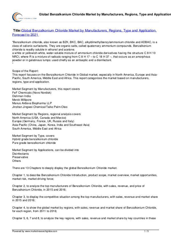Benzalkonium Chloride Market Forecast to 2021