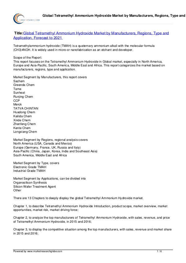 Tetramethyl Ammonium Hydroxide Market 2021