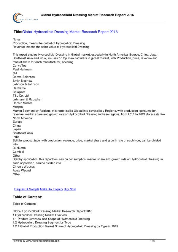 Global Hydrocolloid Dressing Market Report 2016