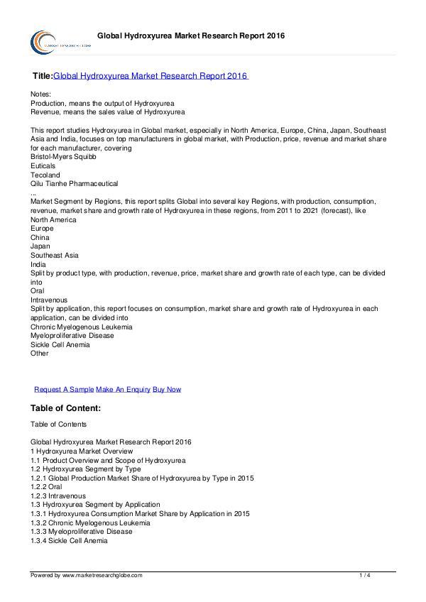 Global Hydroxyurea Market Research Report 2016