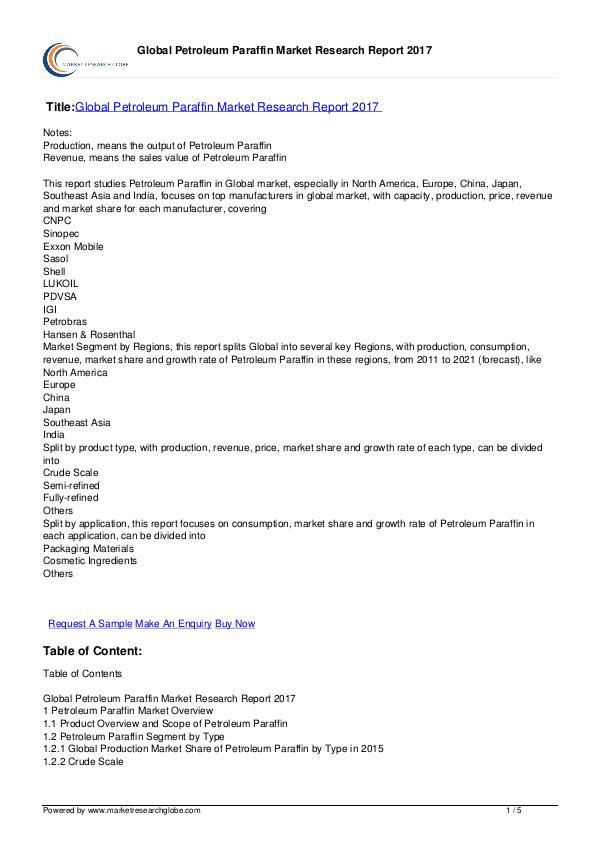 Global Petroleum Paraffin Market Research Report 2