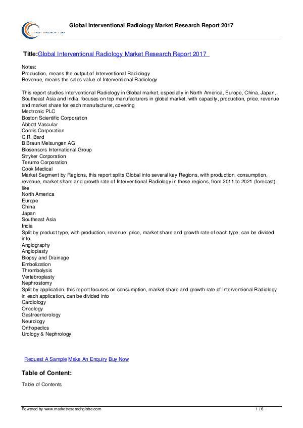 Interventional Radiology Market Report 2017
