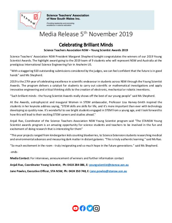 2019 STANSW Young Scientist Media Release - 5th Nov 2019 11 05_YS 2019 Media Release_Pg1_