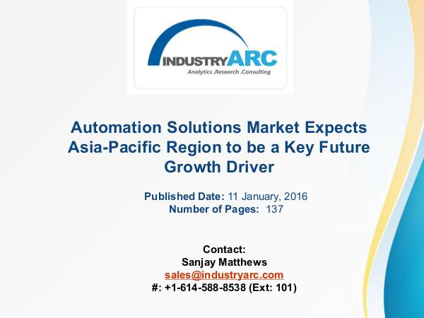 Automation Solutions Market Boosted by Rising Asia-Pacific Demand for Automation Solutions Market Boosted by Rising Asia