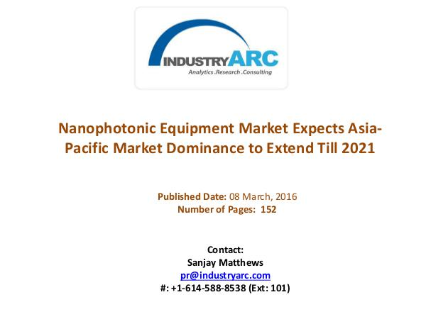 Nanophotonic Equipment Market: Nanophotonics Applications Extended Nanophotonic Equipment Market Pleased With Rise