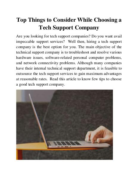 Top Things to Consider While Choosing a Tech Support Company 1