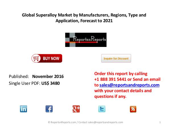 Superalloy Market Forecast and Analysis 2016-2021 Global Report Marketing, Revenue and Investment Analysis
