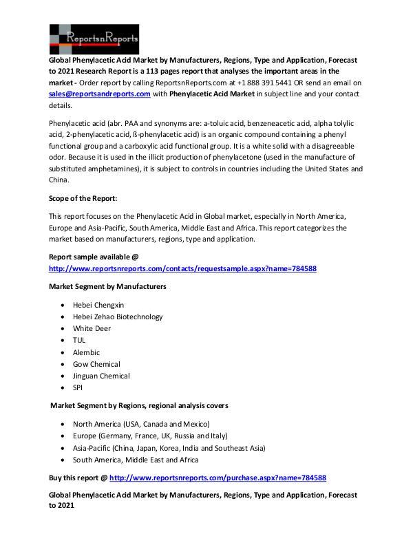 Global Phenylacetic Acid Market Analysis Report Phenylacetic Acid