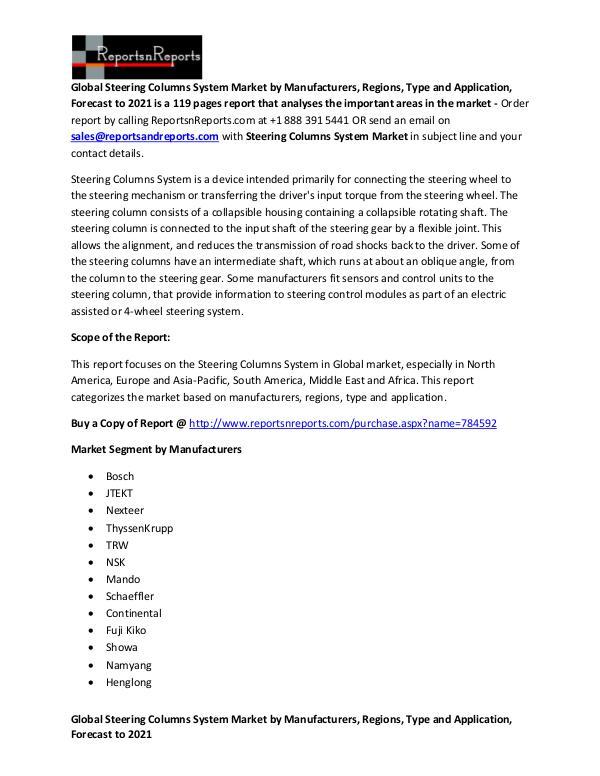 Global Steering Columns System Market Manufacturers Overview Report Global Steering Columns System Market Overview