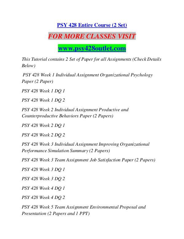 individual assignment productive and counterproductive behaviors paper Psy 428 entire coursefor more course tutorials visit wwwuoptutorialcompsy 428 week 1 individual assignment organizational psychology paperpsy 428 week 1 dq 1psy 428 week 1 dq 2psy 428 week 2 individual assignment productive and counterproductive read more.