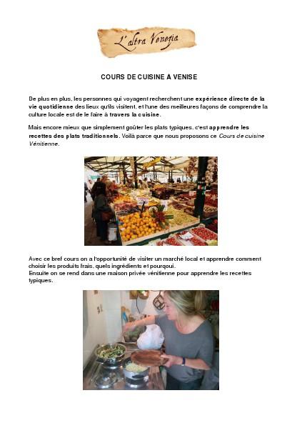 Venise Autrement Cours de cuisine à Venise