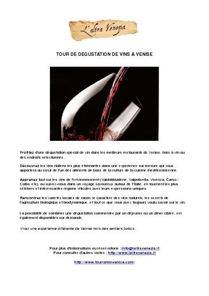 Tour de dégustation de vins à Venise