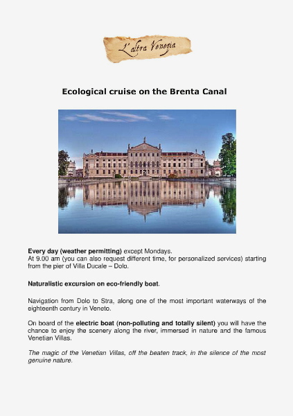 Ecological Cruise on the Brenta Canal