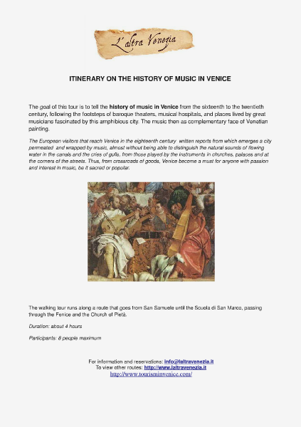 All about Venice Itinerary on the history of music in Venice