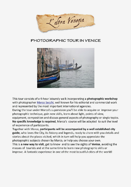 All about Venice Photographic Tour in Venice