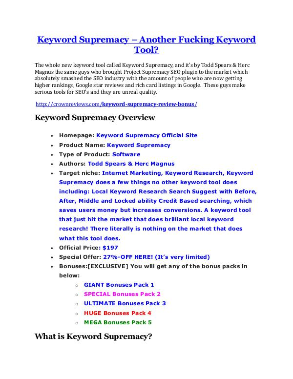 marketing Keyword Supremacy Review and $30000 Bonus - Keyword Supremacy 80% DISCOUNT