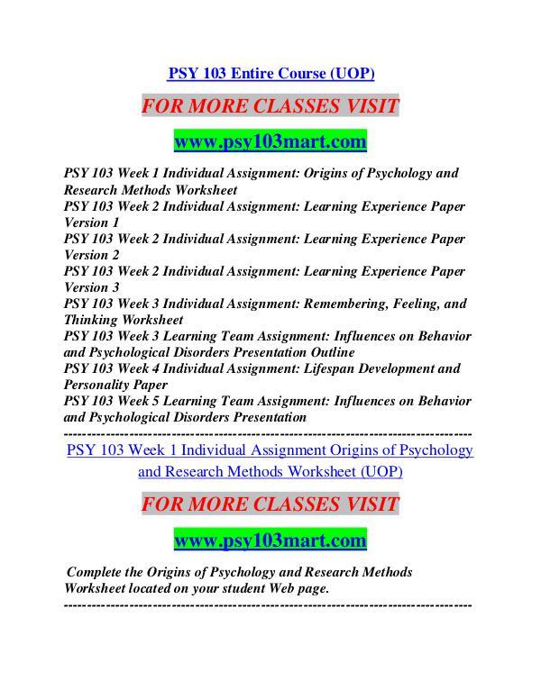 PSY 103 MART Career Path Begins/psy103mart.com PSY 103 MART Career ...