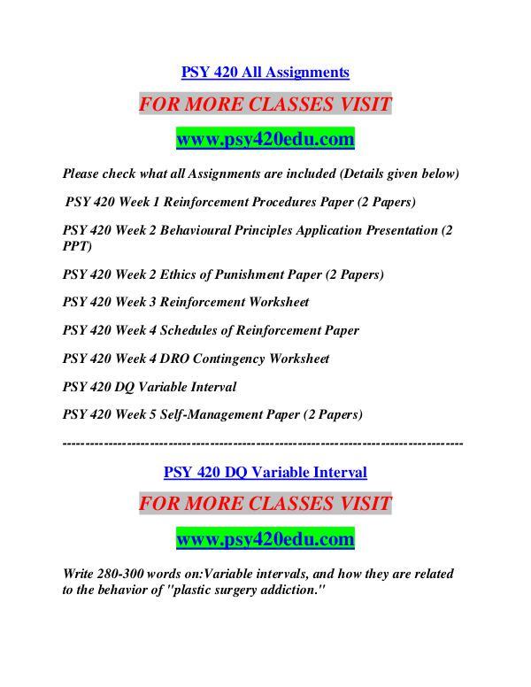 PSY 420 EDU Career Path Begins/psy420edu.com PSY 420 EDU Career Path ...