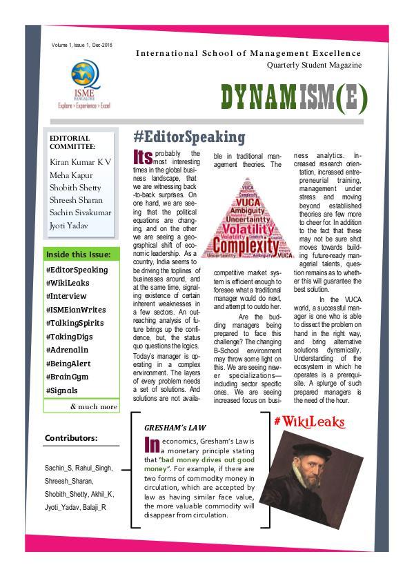 DYNAMISM(E) Vol. 1 Issue. 1