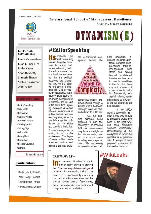 DYNAMISM(E) - ISME Student Quarterly This issue talks about management education, fitne