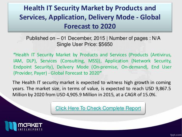 Health IT Security Market Size, By Vertical, 2016 –2020 Health IT Security Market worth 9,867.5 Million US