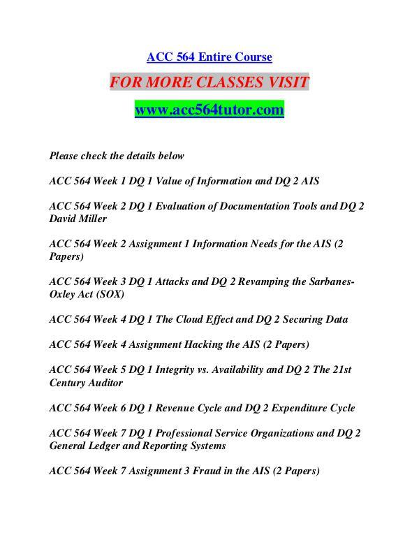 ACC 564 TUTOR Learn by Doing/acc564tutor.com ACC 564 TUTOR Learn by Doing/acc564tutor.com