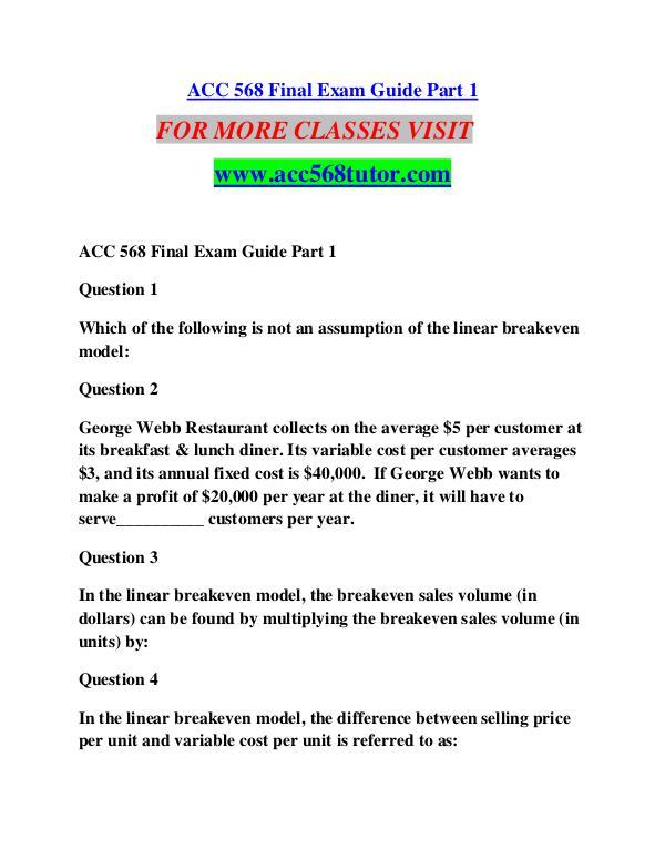 ACC 568 TUTOR Learn by Doing/acc568tutor.com ACC 568 TUTOR Learn by Doing/acc568tutor.com