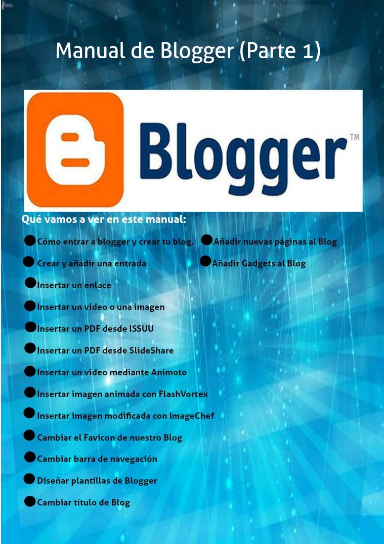 Manual de Blogger (Parte1) Manual de Blogger