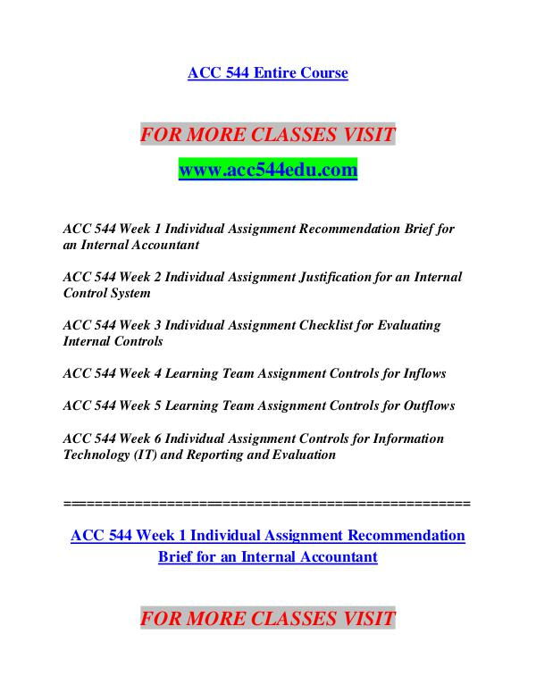 acc 544 week 1 recommendation brief For more course tutorials visit wwwuophelpcom acc 544 week 1 individual assignment recommendation brief for an internal accountant acc 544 week 2 individual assignment justification for.