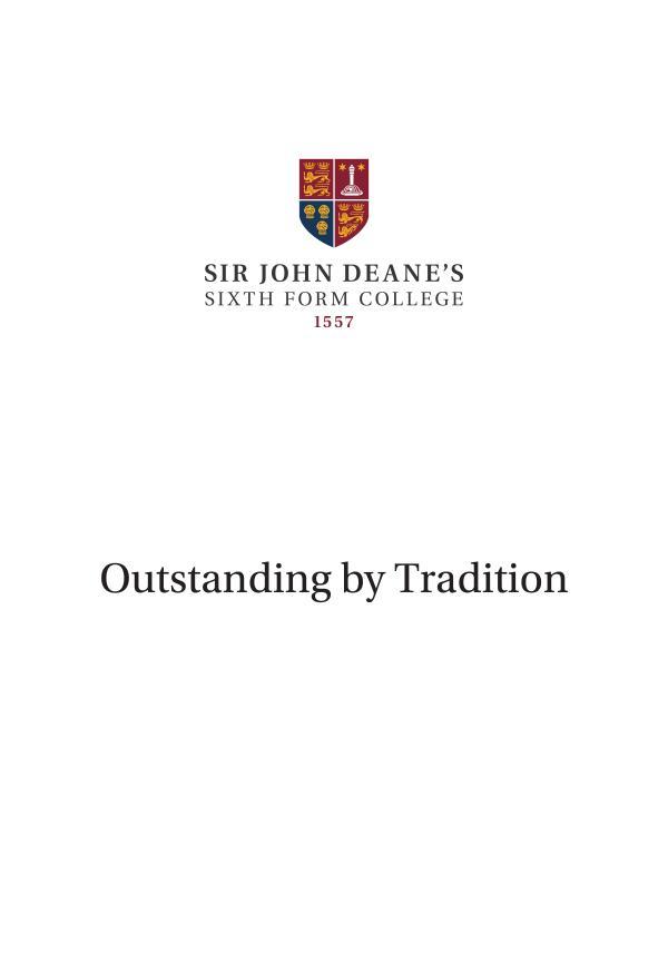 Sir John Deane's Sixth Form College Prospectus 2019/20 SJD Prospectus 2019-20