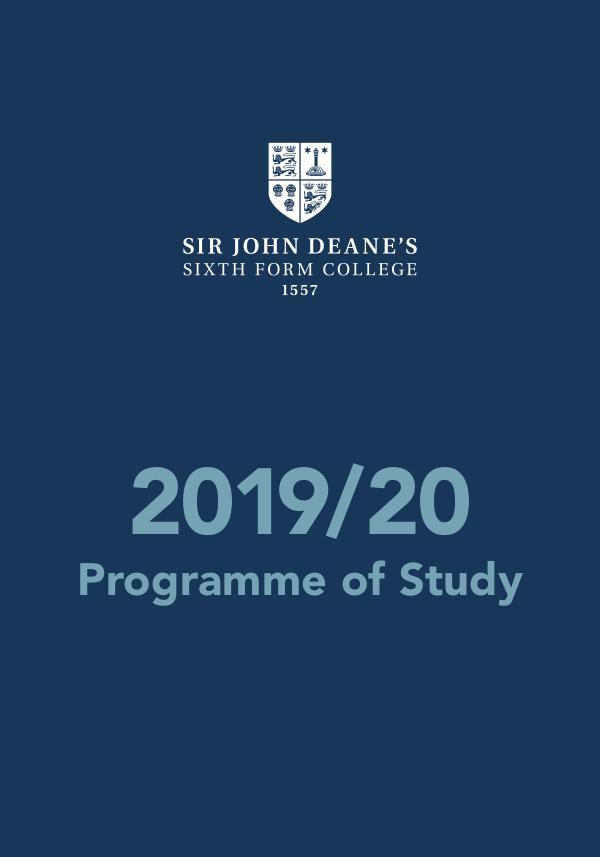 Sir John Deane's Programme of Study 2019/20 Programme