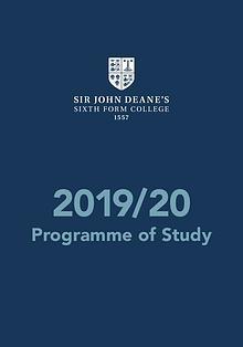 Sir John Deane's Programme of Study
