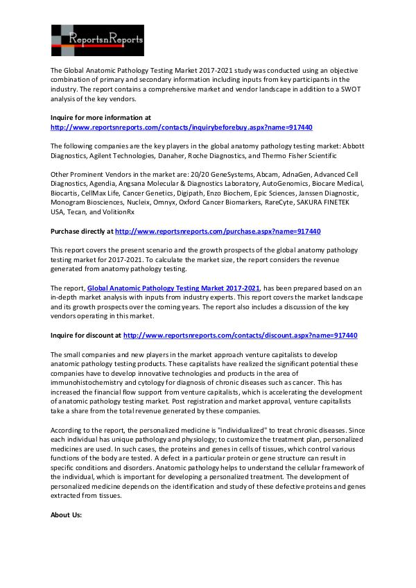 Analysis on Anatomic Pathology Testing Market Global Report