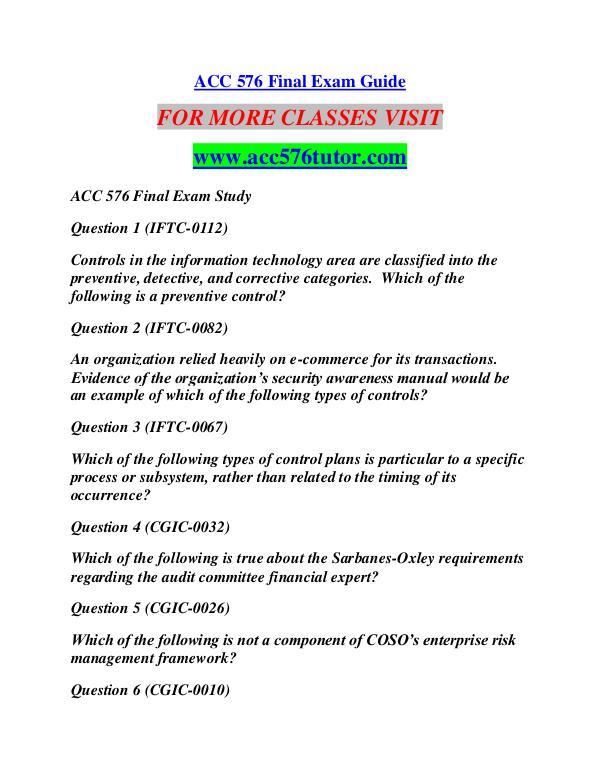 ACC 576 TUTOR Learn by Doing/acc576tutor.com ACC 576 TUTOR Learn by Doing/acc576tutor.com