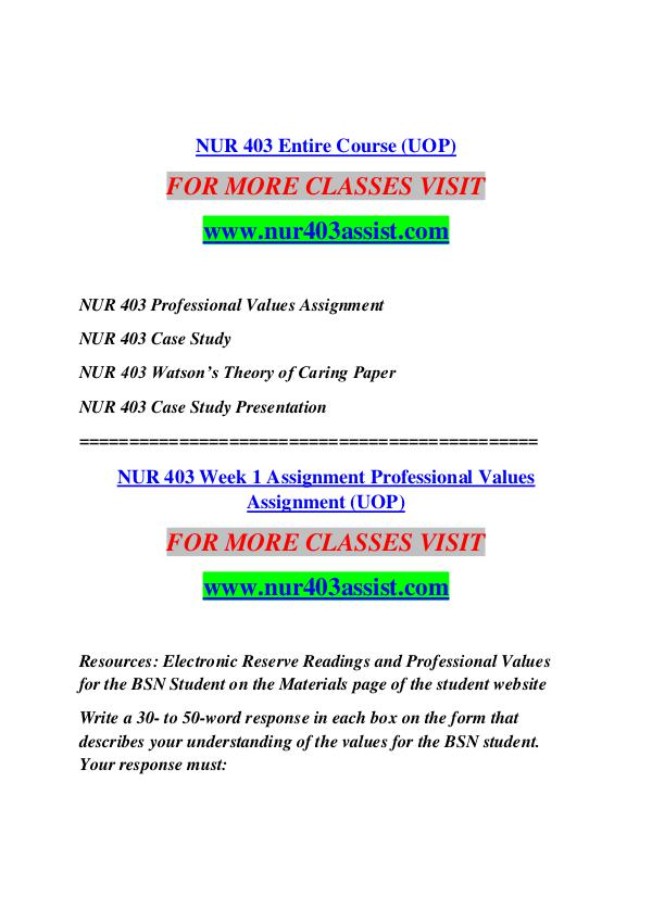 nur 403 debbie s case study Theory of human caring: jean watson nur403assistcom nur 403 professional values assignment nur 403 case study nur 403 watson's theory of caring paper nur.
