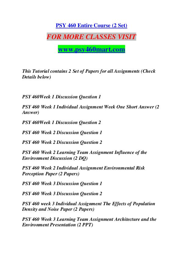 environmental risk perception paper psy 460 Psy 460 entire course (2 set) for more classes visit wwwsnaptutorialcom this tutorial contains 2 set of papers for all assignments (check details below)  psy 460 week 2 individual assignment environmental risk perception paper (2 papers) for more classes visit wwwsnaptutorialcom.