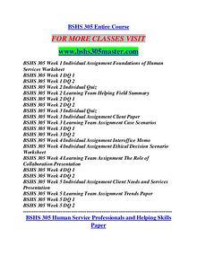 BSHS 305 MASTER Career Path Begins/bshs305master.com