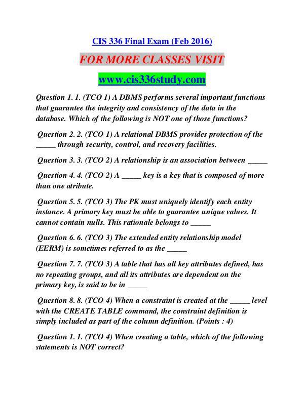 CIS 336 STUDY Career Path Begins/cis336study.com CIS 336 STUDY Career Path Begins/cis336study.com