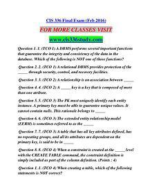 CIS 336 STUDY Career Path Begins/cis336study.com