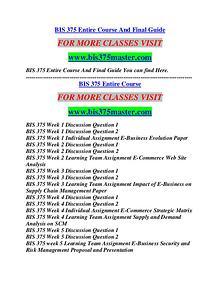 BIS 375 MASTER Career Path Begins/bis375master.com