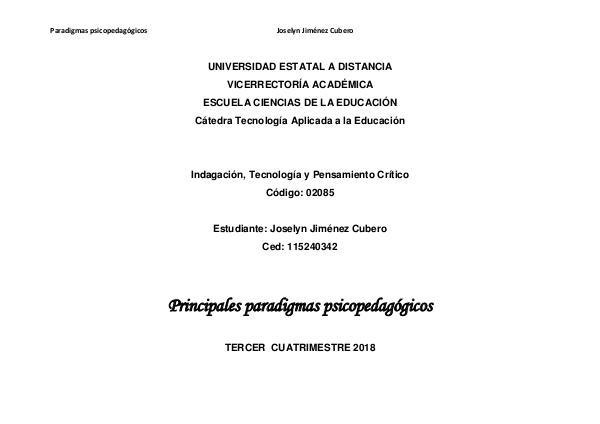Principales paradigmas psicopedagógicos revista digital paradigmas Joselyn Jimenez
