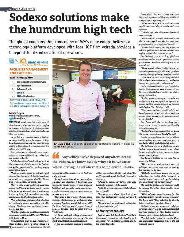 BN Western Australia:  'Sodexo solutions make the humdrum high tech' x08WBN_004p