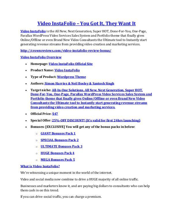 marketing Video InstaFolio review- Video InstaFolio (MEGA) $21,400 bonus