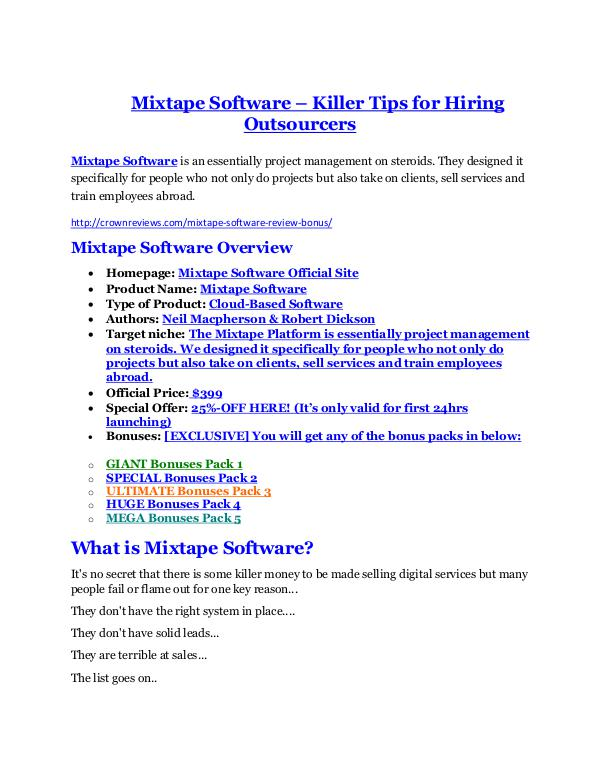 marketing Mixtape Software REVIEW - DEMO of Mixtape Software